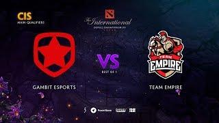Gambit Esports vs Team Empire, TI9 Qualifiers CIS, bo1 [Maelstorm & Smile]