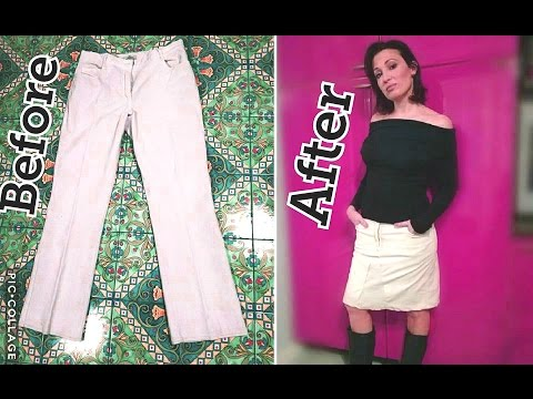 Come trasformare un PANTALONE in GONNA-How to turn a TROUSER in a SKIRT-DIY CLOTHES by Diana Toto