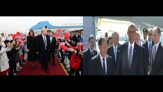 Compare! Trump Royal Arrival in China vs obama treated as luggage