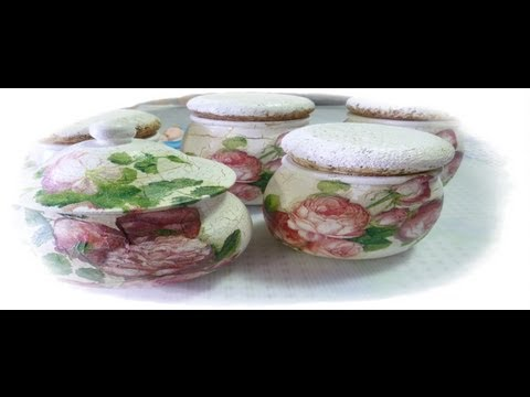 come decorare dei barattoli in decoupage