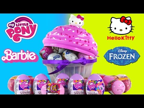 30 SURPRISE EGGS! Barbie Glitzi Globes Frozen Powerpuff Girls HelloKitty My Little Pony Toys DCTC