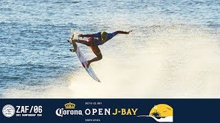 Filipe Toledo continues his aerial antics in Round Four and pulls two massive alley-oops on the same wave for a perfect 10 point...