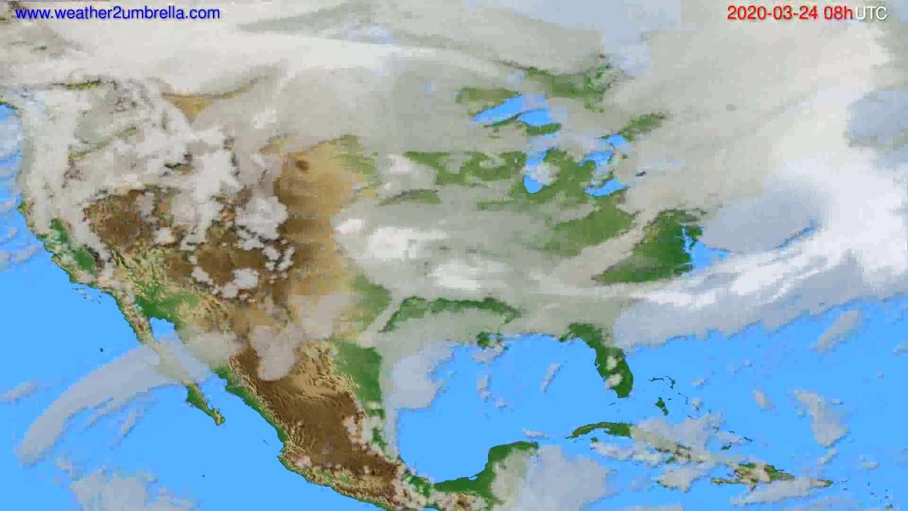 Cloud forecast USA & Canada // modelrun: 12h UTC 2020-03-23