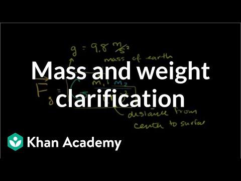 Mass And Weight Clarification Video Khan Academy
