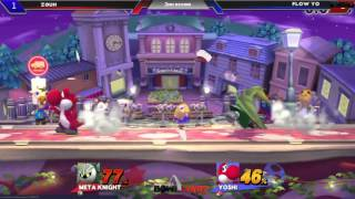 Meta Knight Shield Breaks Yoshi on ledge (Local Tourney footage)