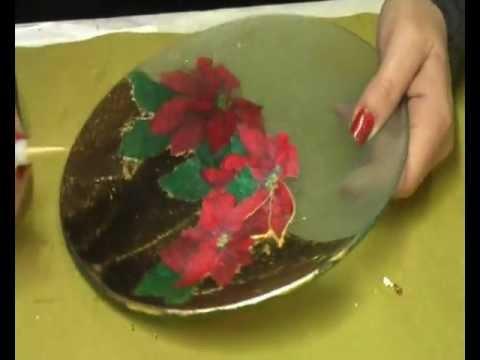 decoupage - come creare un centrotavola natalizio da un piatto