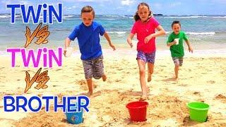 Twin VS Twin VS Brother BEACH GAMES CHALLENGE in Hawaii!   Kids Fun TV