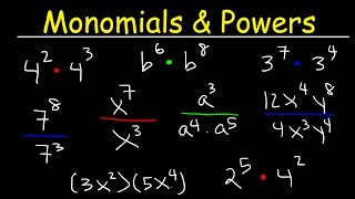 This video tutorial explains the process of multiplying and dividing monomials and powers with both the same base and with different bases.  Negative exponents are included in some examples.  Pre-Algebra Video Playlist:https://www.youtube.com/watch?v=WJqw-cxvKgo&list=PL0o_zxa4K1BVoTlaXWFcFZ7fU3RvmFMMGAlgebra Online Course:https://www.udemy.com/algebracourse7245/learn/v4/overviewAccess to Premium Videos:https://www.patreon.com/MathScienceTutor