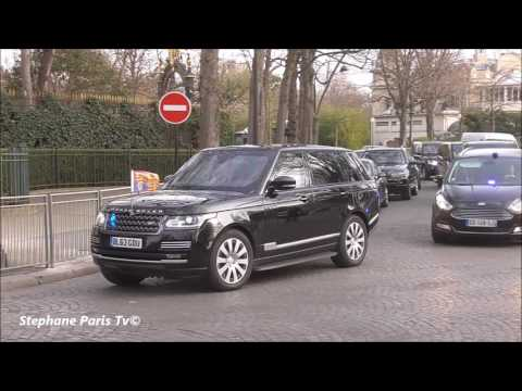The Duke and Duchess of Cambridge arrive at the Elysée Palace in a Range Rover.