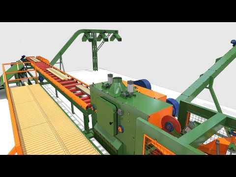 Pełna Szata Graficzna 3D model - Animacja w postacie przelotu - Linia do obróbki drewna.