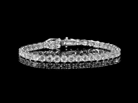 Lady's 18k White Gold 12.34ct (TDW) Diamond Tennis Bracelet