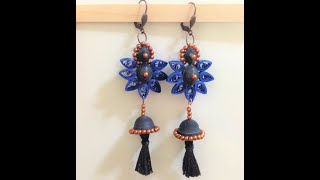 quilling earrings jhumkas navy with tassel