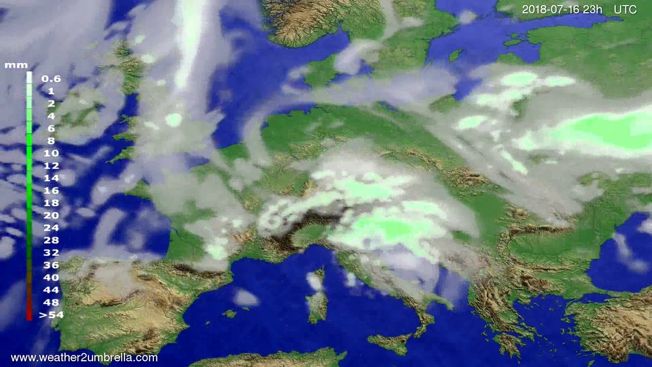 Precipitation forecast Europe 2018-07-13