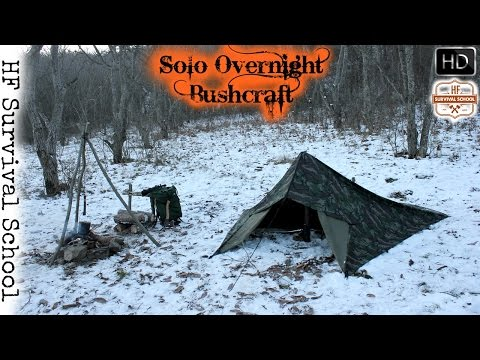 Winter Overnight Bushcraft - Camp , Tarp Tent , Cooking Meat , Chair , Survival - HD Video