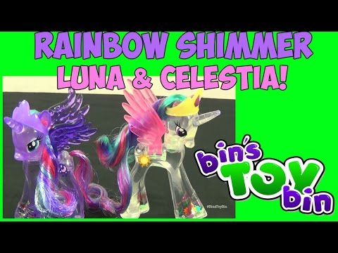 bin - We review these beautiful Rainbow Shimmer My Little Pony figures of Princess Luna and Celestia! These translucent figures are filled with glitter like a snowglobe! Thanks for watching and please...