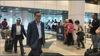 Sam Rainsy arrives at Kuala Lumpur Airport on November 9, 2019