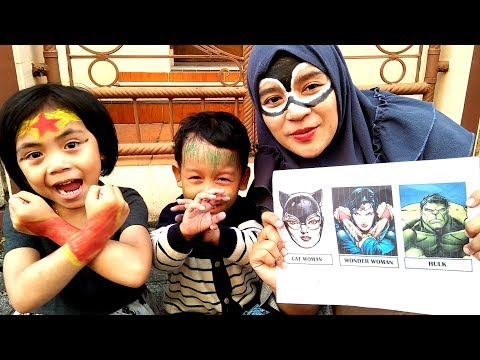 Challenge Face Painting Yaya Jadi Super Hero Wonder Woman