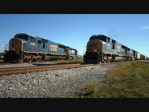 CSX locomotive - This is a video i made of 2 CSX locomotives the must move and clear the tracks for another CSX freight train to go thru the CSX transportation hub in Mulberr...