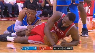 Russell Westbrook Checks on James Harden After Fall! Thunder vs Rockets
