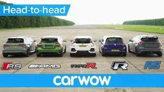 RS 3 v A45 AMG v Civic Type R v Golf R v Focus RS - DRAG & ROLLING RACE | Head-to-Head