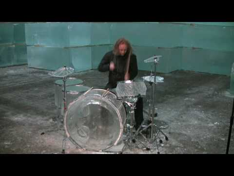 Drummer Destroys Drumset Made of Ice