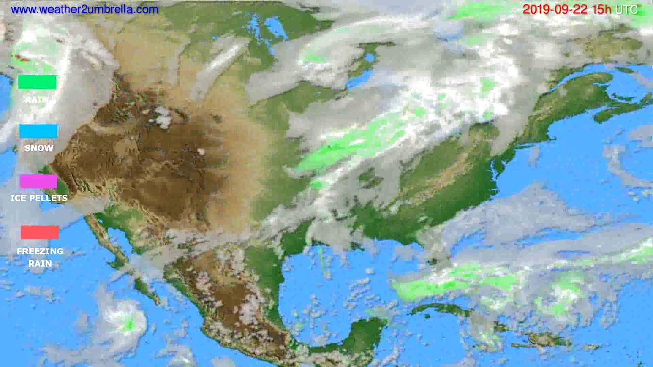 Precipitation forecast USA & Canada // modelrun: 12h UTC 2019-09-19