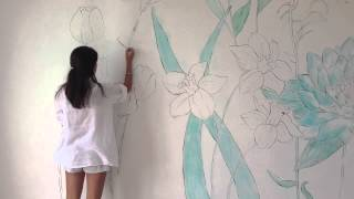WALL ART -Flowers in my Room- speed painting