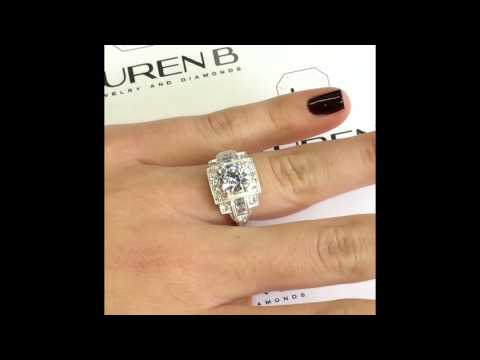 Round Diamond Vintage Engagement Ring in Square Halo