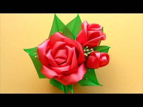 Розы из канзаши лент атласных лент своими руками