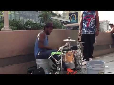 """Amazing street drummer performs """"See you again"""""""