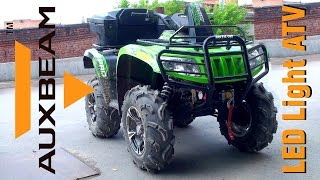 6. Auxbeam LED Light Bar Install and Test Drive ATV Arctic Cat 700