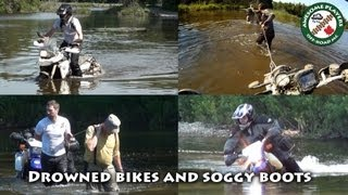 7. Drowned bikes, wet boots.  Suzuki DR650, BMW F800GS & HP2 on the trail.