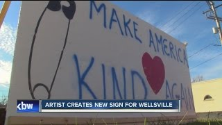 Wellsville (NY) United States  City new picture : Make America kind again: new signs made at Wellsville