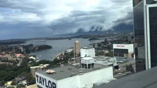 A massive set of storm shelf clouds rolling into Sydney city