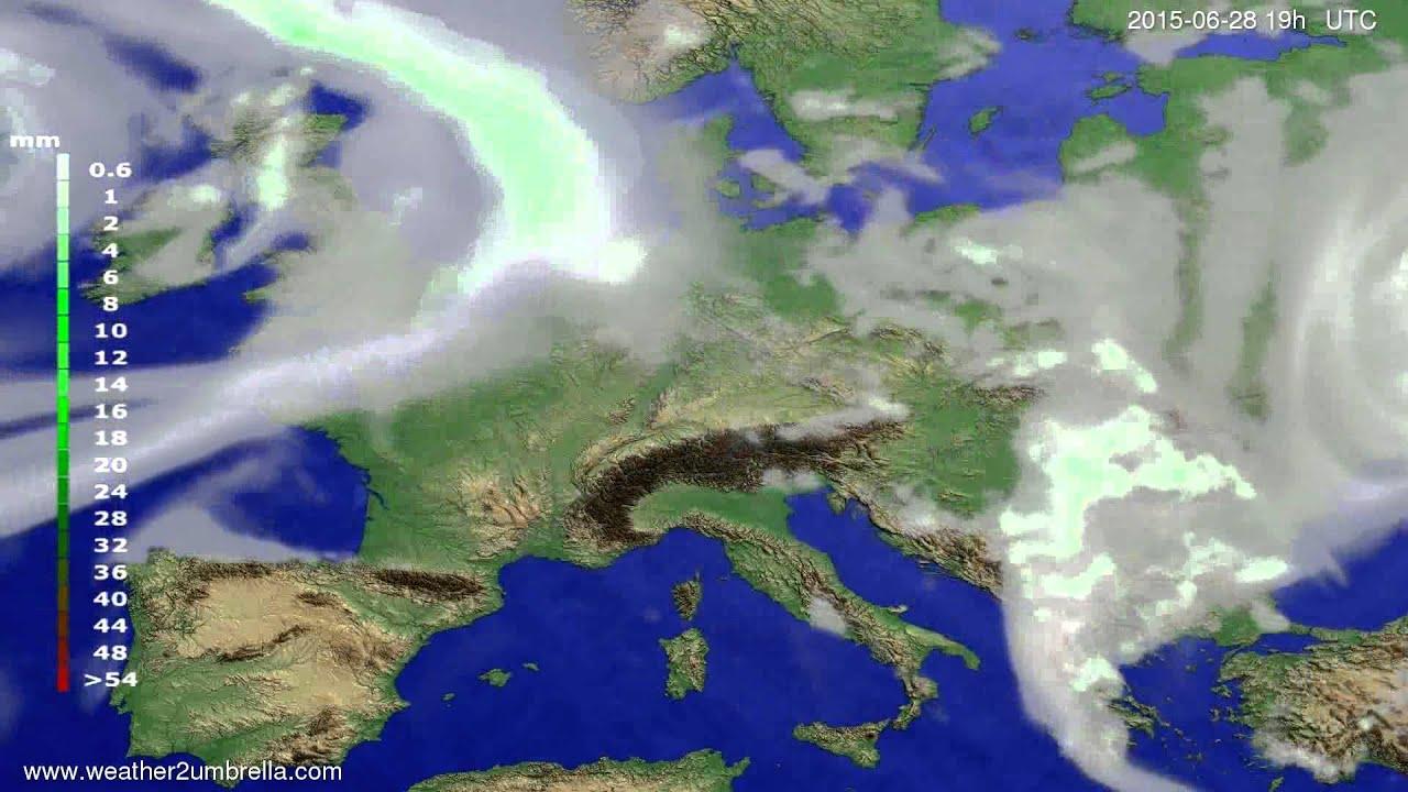 Precipitation forecast Europe 2015-06-25