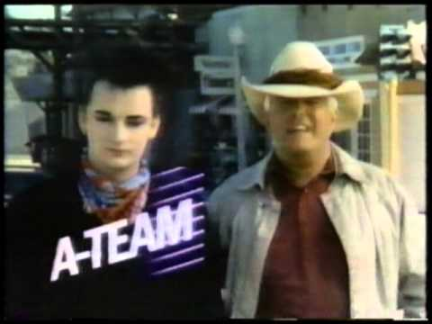 "NBC's ""The A-Team"" promo with Boy George and George Peppard (Feb. '86)"
