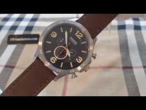 , title : 'Men's Fossil Nate Chronograph Leather Band Watch JR1475'