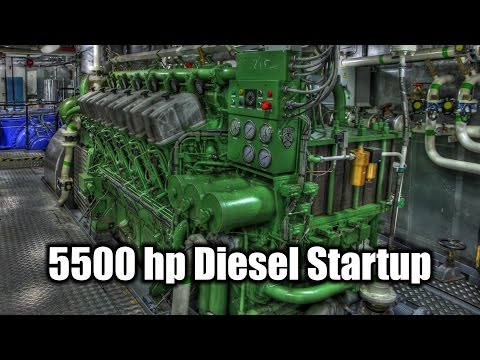 How to start twin 5500 horsepower diesel engines. Instructions included.
