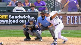 Nolan Arenado connects on his fourth hit and second home run of the game, a solo shot to right-center off Kevin Quackenbush in ...