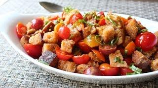 Crispy Panzanella Salad - Tuscan Bread&Tomato Salad Recipe