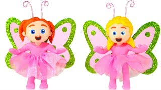 LITTLE GIRLS WEARING BUTTERFLY COSTUMES ❤ SUPERHERO PLAY DOH CARTOONS FOR KIDS