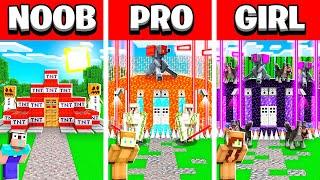 NOOB vs PRO vs GIRL FRIEND Minecraft BUNKER Build Battle! (Building Challenge)