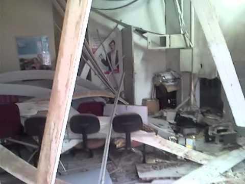 Cenas após explosão do Banco do Bradesco de Santa Filomena do Maranhão- MA