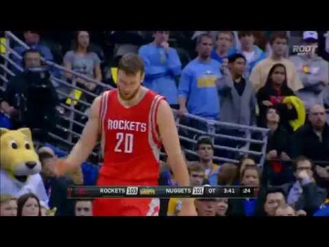 Donatas Motiejunas works over Kenneth Faried in overtime