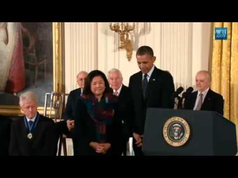 medal - President Obama honors the 2013 Medal of Freedom award winners, the highest civilian honor the US bestows. Among the winners are Ernie Banks, Ben Bradlee, Bi...
