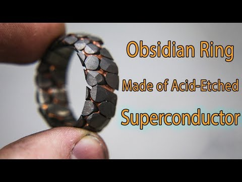 Jeweler Made Acid Etched Superconductor Ring with Obsidian Facets
