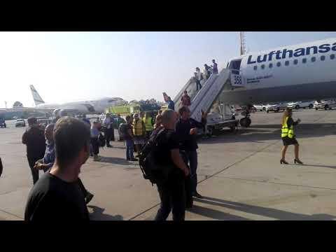 מטוס לופטהנזה מיד לאחר נחיתת החירום בנתב