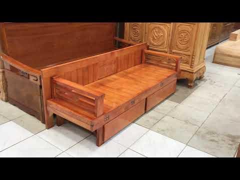 Giường gấp ô kéo gỗ Sồi