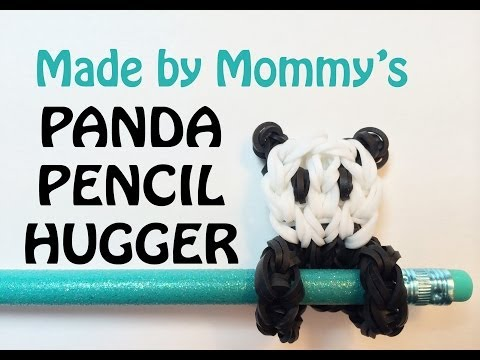 Rainbow Loom Pencil Hugger: Panda Bear Charm