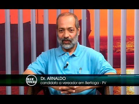Sala de Imprensa com Dr. Arnaldo, candidato a vereador em Bertioga (PV)